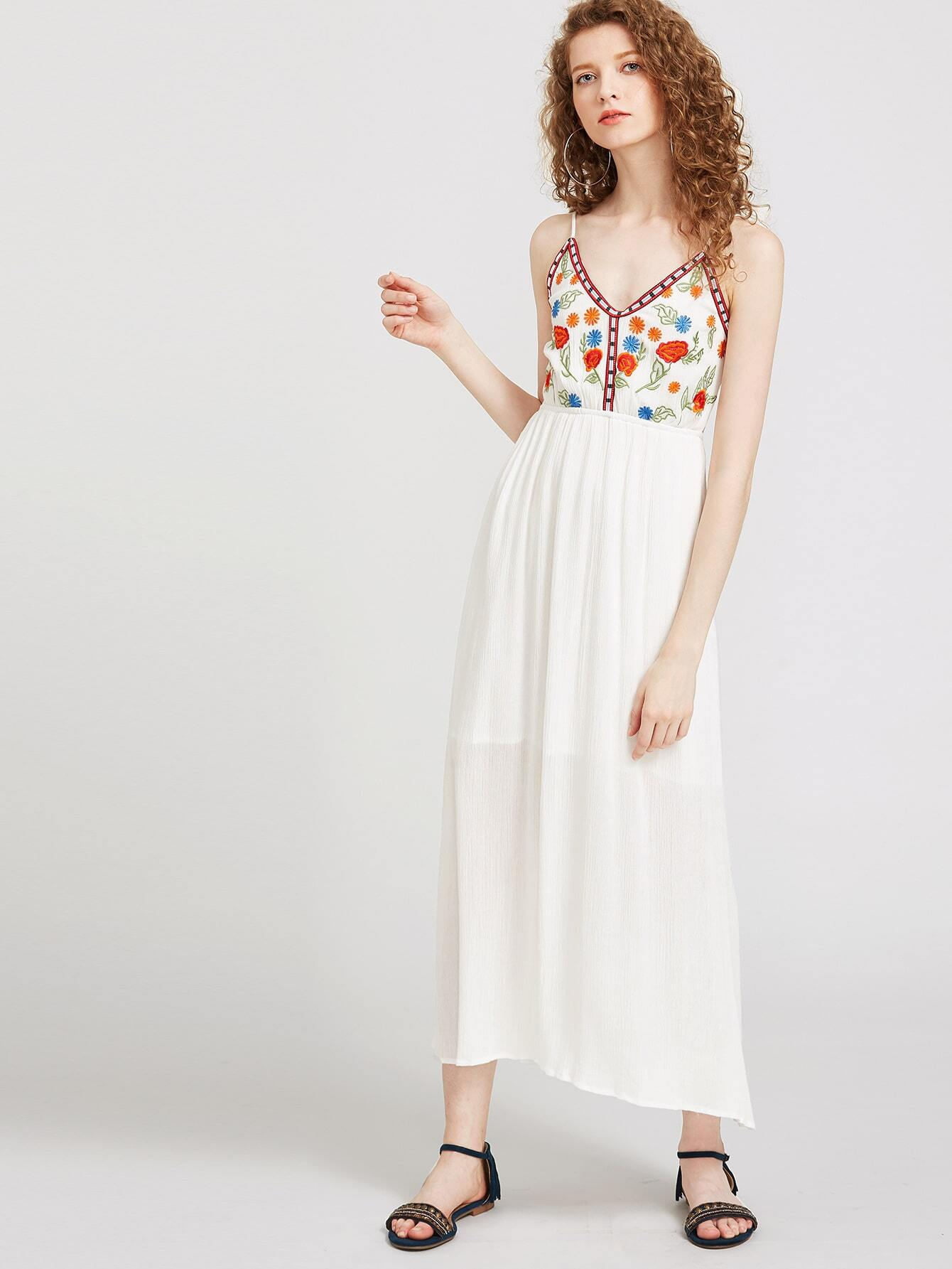 Embroidery Slip Open Back Dress dress170407002