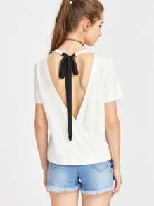 Lace Up V Back T-Shirt