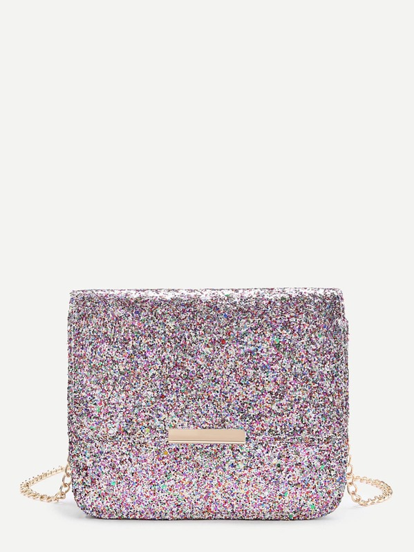Metal Detail Glitter Flap Bag With Chain, null