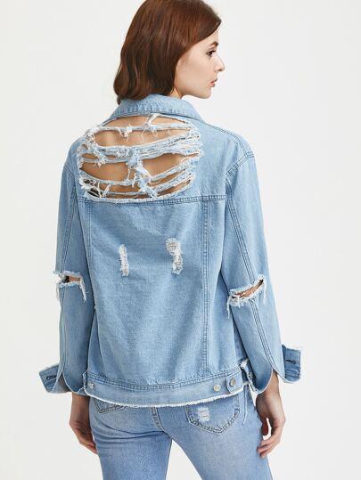 Distressed Frayed Hem Denim Jacket