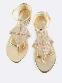 Metallic Crystal Mesh Sandals GOLD
