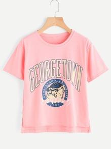 Graphic Print Dip Hem Split Side Tshirt