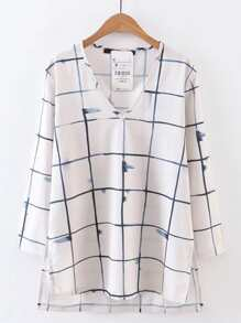 V-Cut Windowpane High Low Blouse