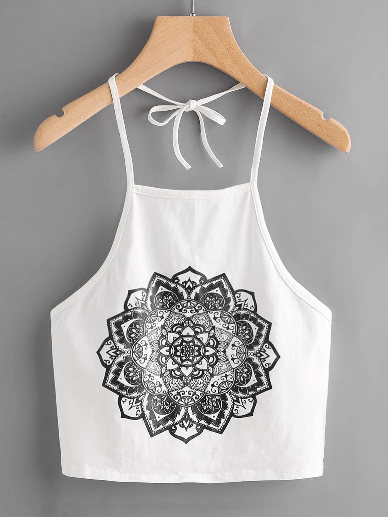 Mandala Print Self Tie Halter Top