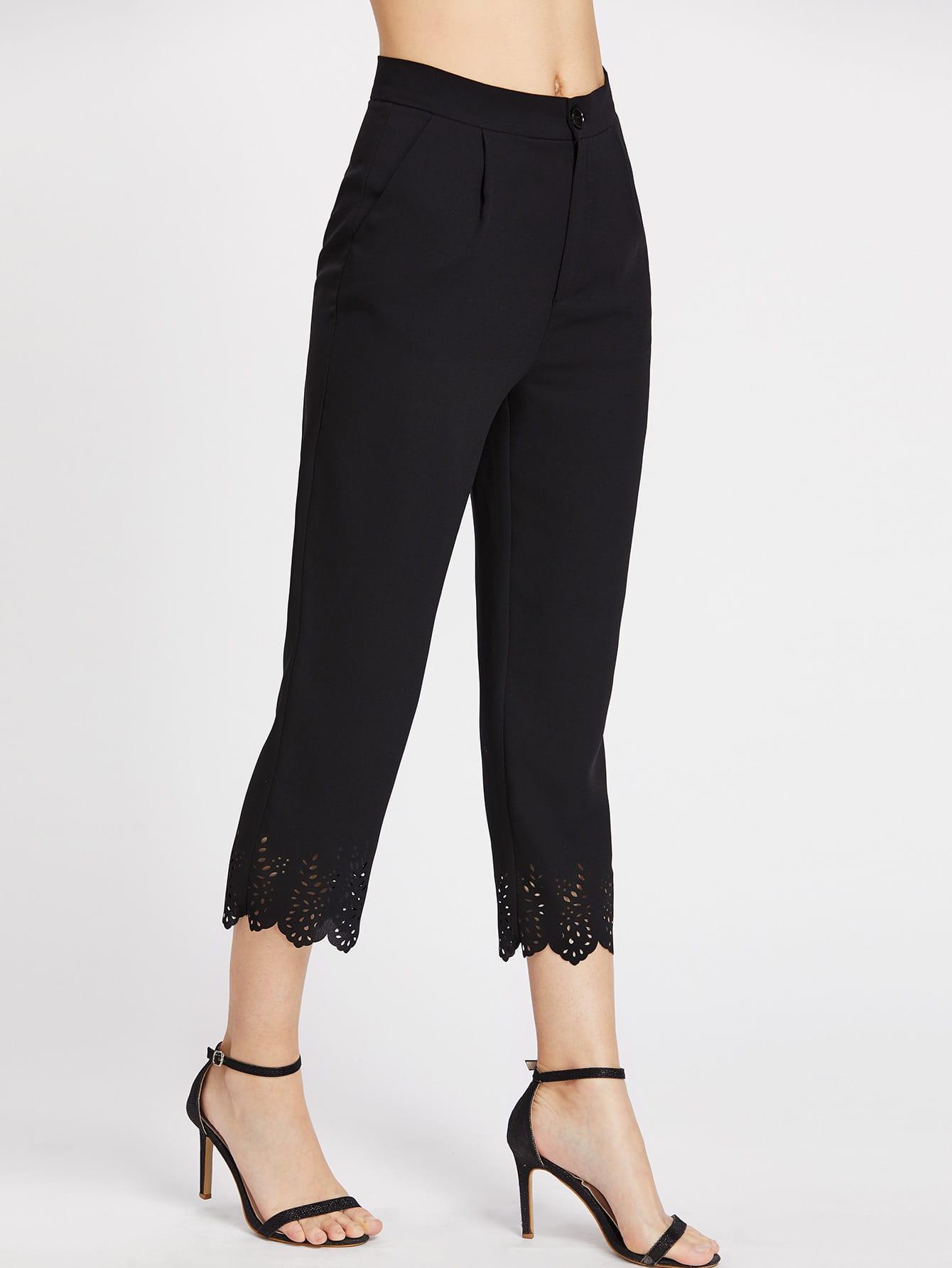 Фото Laser Cut Scallop Hem Crop Tailored Pants. Купить с доставкой