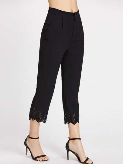 Laser Cut Scallop Hem Crop Tailored Pants