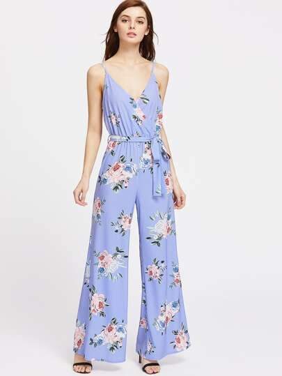 Rose Print Surplice Belted Wide Leg Cami Jumpsuit