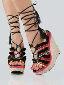 Colorful Strap Up Wedges BLACK MULTI