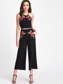 Rose Patch Halter Top And Wide Leg Tailored Pants Co-Ord