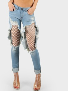 Destroyed Fishnet Boyfriend Jeans LIGHT DENIM