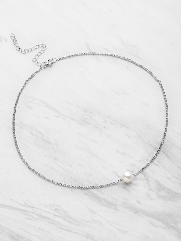 Chain Necklace With Faux Pearl, null