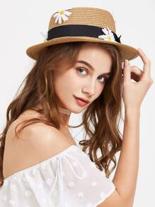Daisy Embellished Straw Hat With Bow Tie