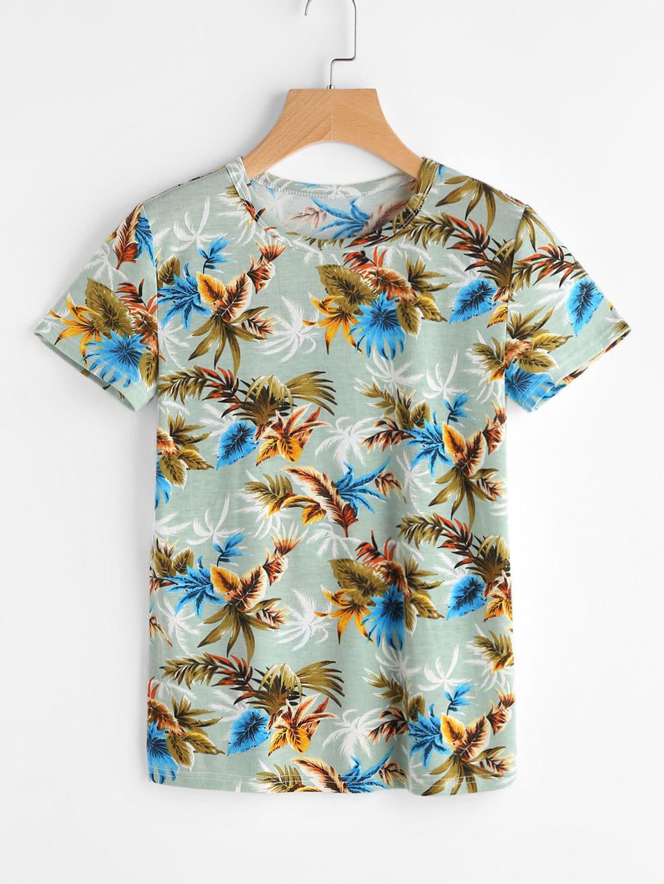 Фото Palm Leaf Print Slub T-shirt. Купить с доставкой