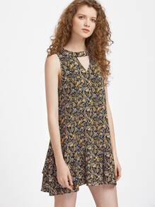 V Cutout Keyhole Tie Back Ditsy Dress