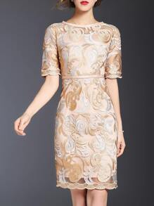 Apricot Gauze Embroidered Sheath Dress