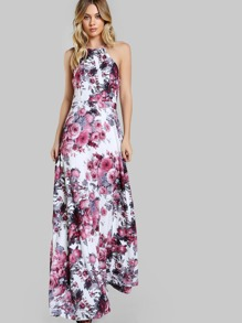 Racer Neck Cutout Back Floral Dress