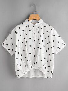 Textured Dots Print Dip Hem Shirt