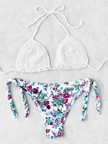Sets de bikini de croché con cordón lateral con estampado de calicó