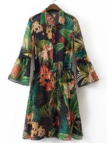 Tropical Print Bell Sleeve Shirt Dress