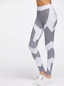 Color Block Honeycomb Pattern Gym Leggings