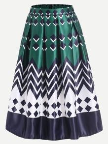 Geometric Print Box Pleated Midi Skirt