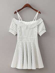 Contrast Striped Fold Over Cami Dress