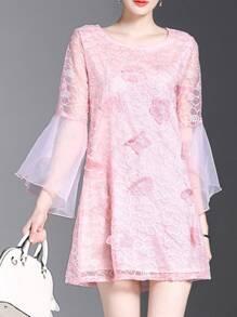 Bell Sleeve Sheer Flowers Applique Dress