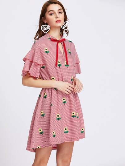 Sunflower Embroidered Keyhole Tie Neck Layered Sleeve Striped Dress