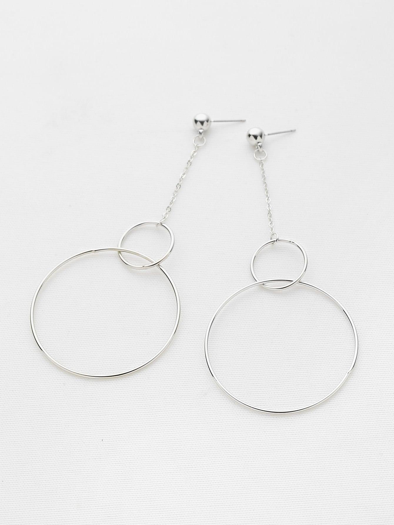 Фото Double Open Circle Drop Earrings. Купить с доставкой