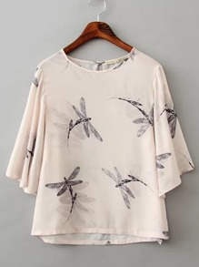 Dragonfly Print Bell Sleeve Top