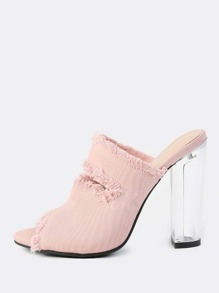 Denim Frayed Mules BLUSH