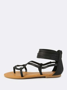 Faux Leather Ankle Wrap Sandals BLACK