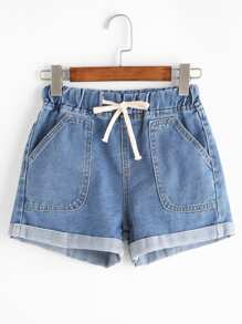 Blu coulisse Rolled Hem Denim Shorts