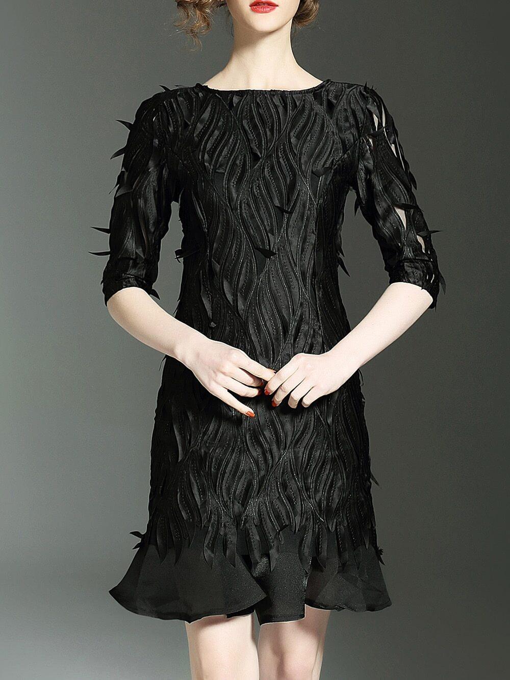 Фото Backless Applique Hollow Shift Dress. Купить с доставкой