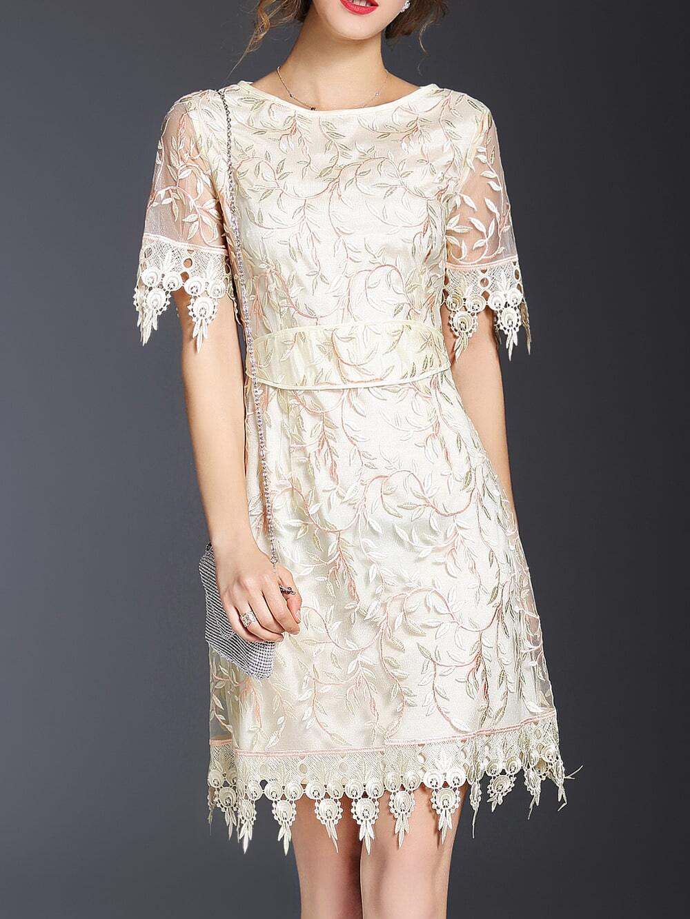 Beige leaves gauze embroidered dress shein sheinside