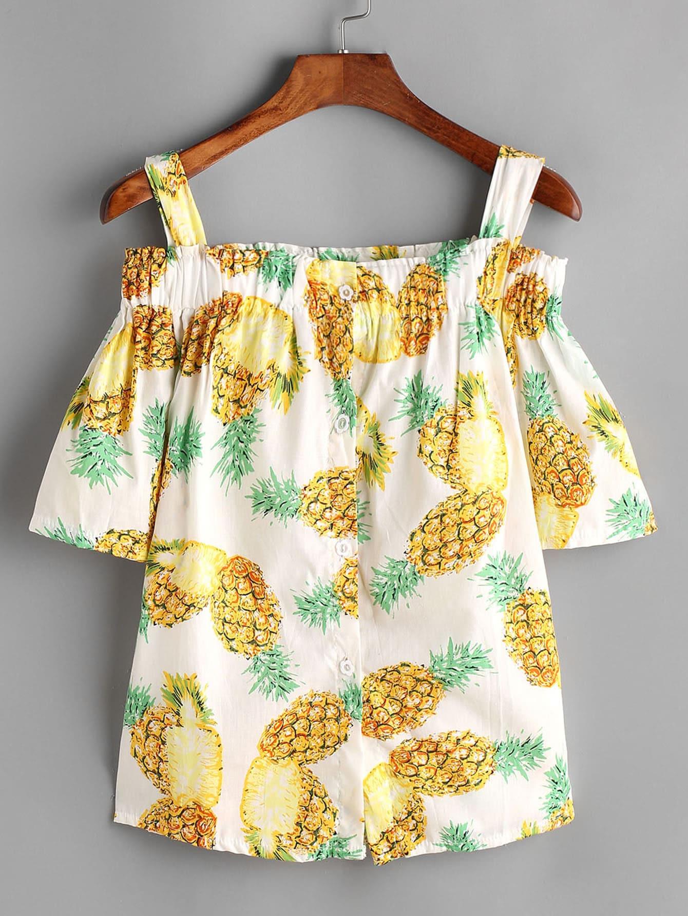 Фото Pineapple Print Open Shoulder Top. Купить с доставкой