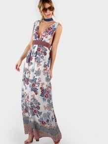 Floral Print Maxi Dress IVORY BLUE