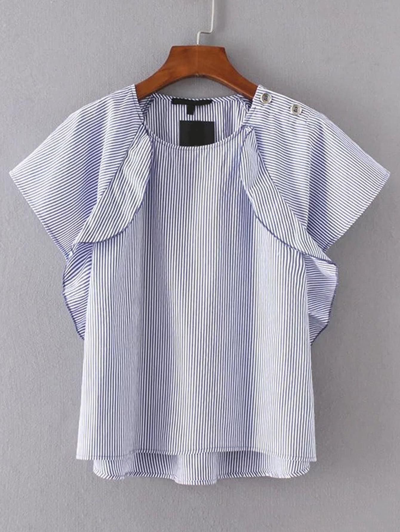Raglan Sleeve Vertical Striped High Low Top blouse170425201