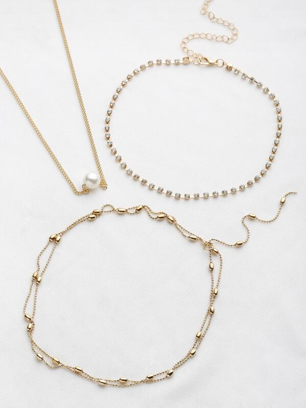 Faux Pearl And Rhinestone Decorated Necklace Set, null