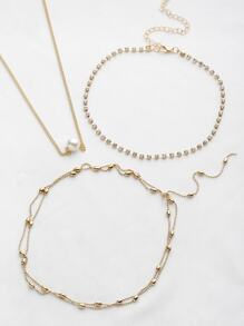 Faux Pearl And Rhinestone Decorated Necklace Set