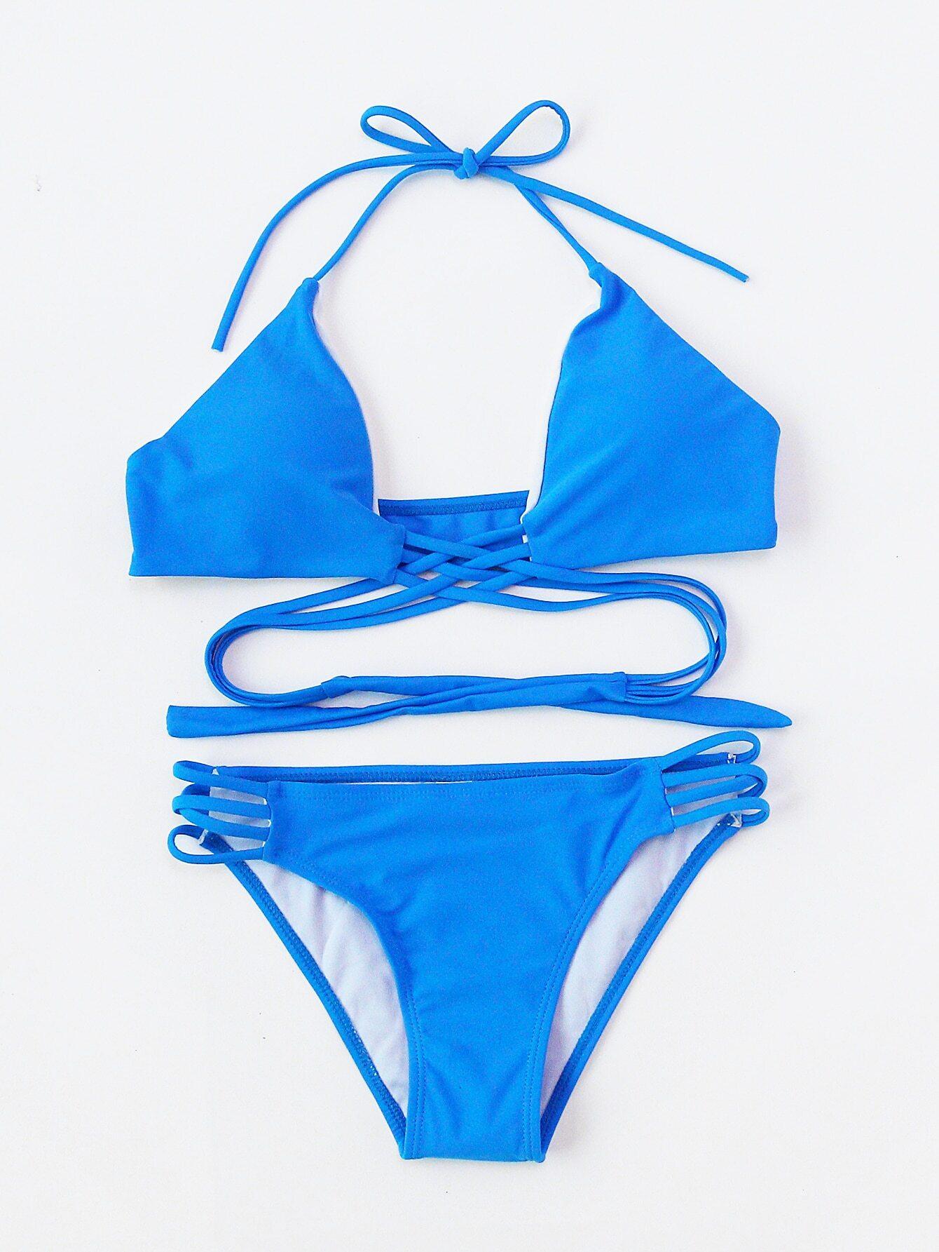 Ladder Cutout Criss Cross Bikini Set swimwear170417301