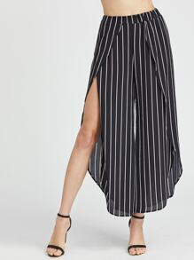 Vertical Striped Chiffon Wide Leg Petal Pants