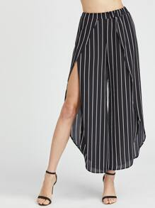 Pantalones de pierna de gasa de rayas verticales con abertura