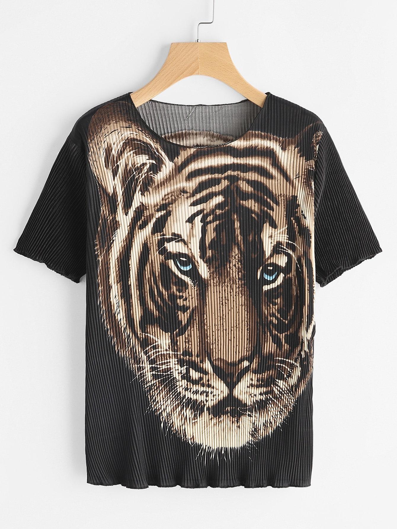 Tiger Print Ribbed Tee tee170413101