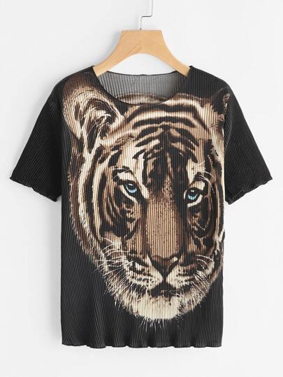Tiger Print Ribbed Tee