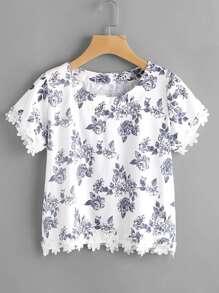 Ditsy Print Floral Lace Hem Blouse