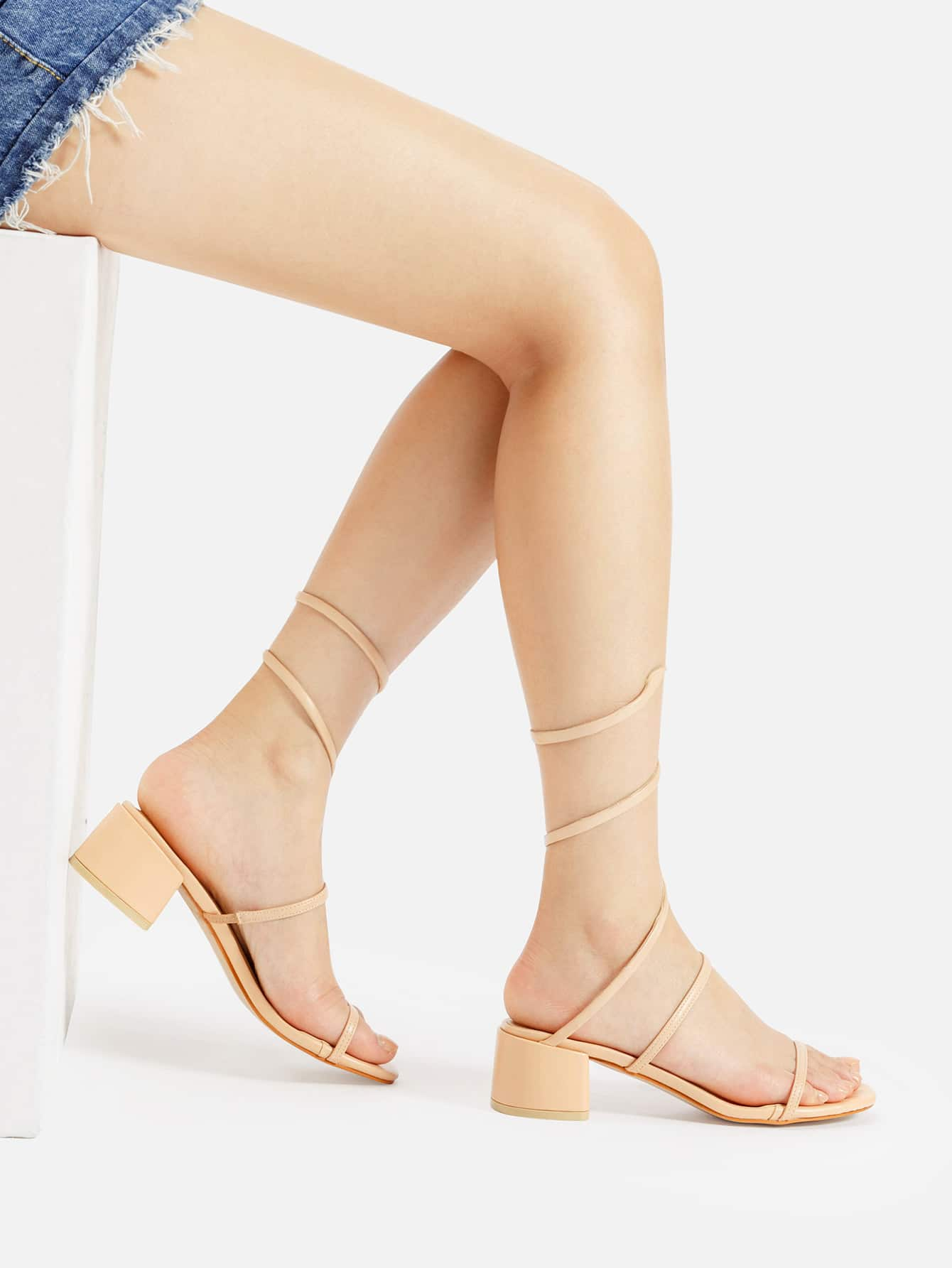 Image of PU Strap Around Chunky Heeled Sandals