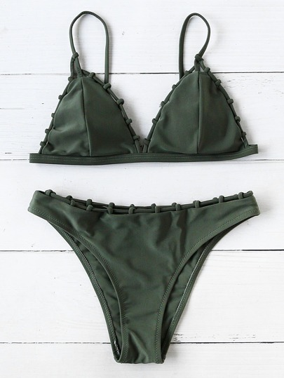 Ensemble de bikini triangulaire tissé