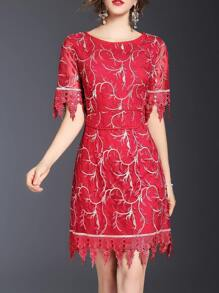 Red Leaves Gauze Embroidered Dress