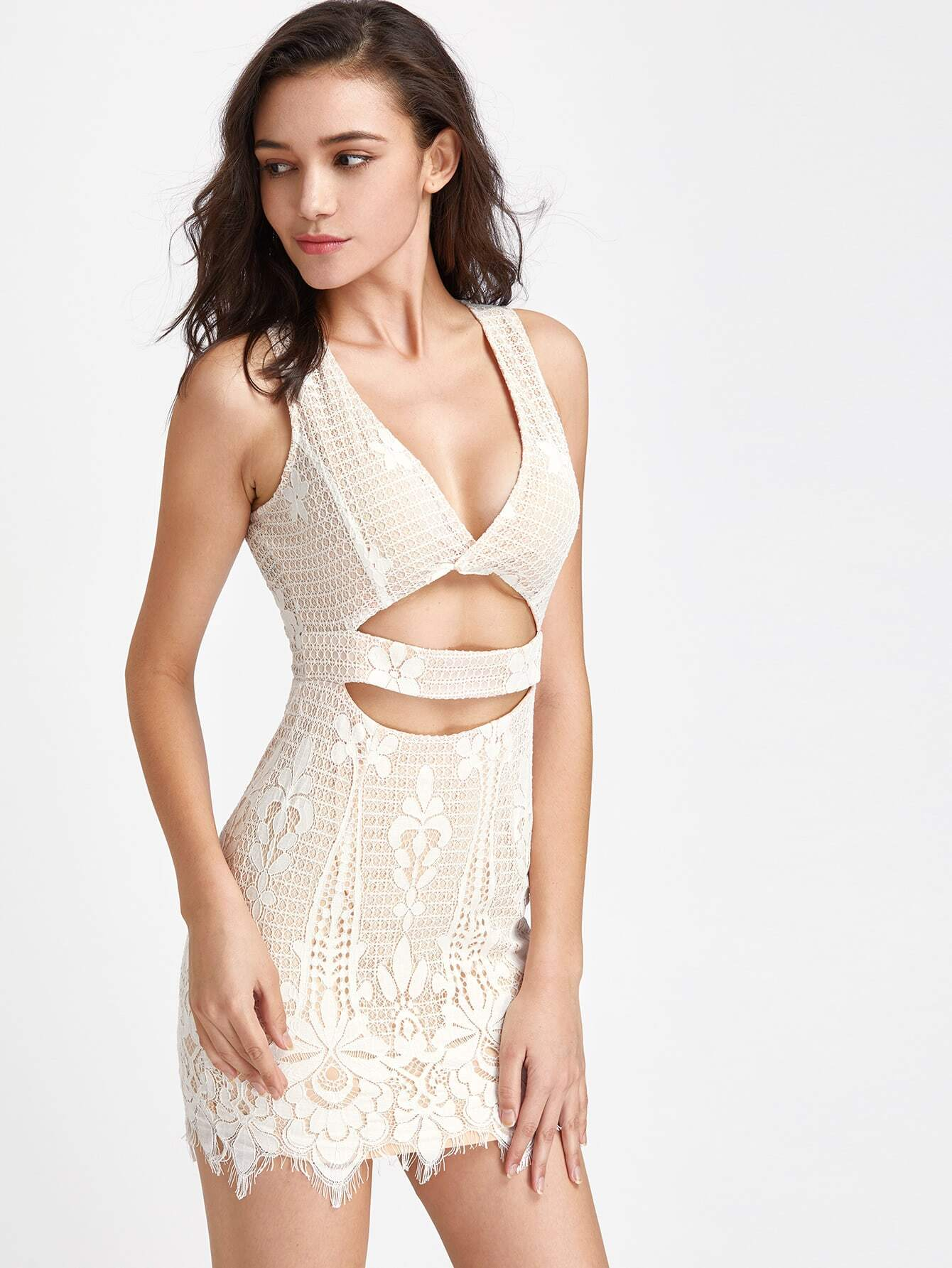 Plunging V-Neckline Cut Out Midriff Lace Dress dress170410403